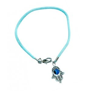 Colored Cord Kabbalah Bracelet - Hamsa Charm with Revolving Eye