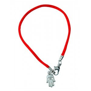 Kabbalah Cord Bracelet with Hamsa Charm - Red