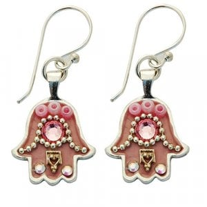 Pink Hamsa Earrings by Ester Shahaf