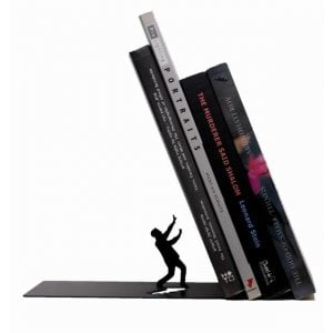 """Falling Books"" Metal Bookend"