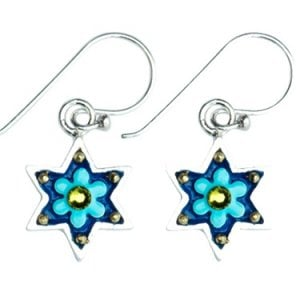 Baby-Blue Flowers Star of David Earrings