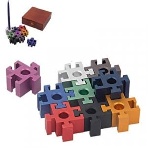 Dabach Judaica Anodized Aluminum Puzzle Chanukah Menorah - Colorful