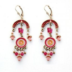 Pink Red Oriental Earrings by Ester Shahaf