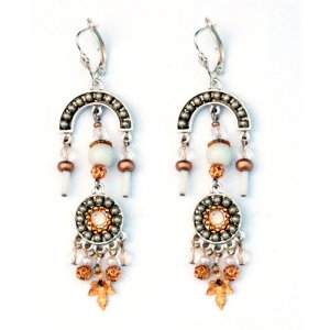 Metal Gray and Gold Color Dangle Earrings by Ester Shahaf