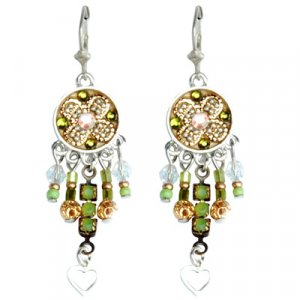 Ethnic Oriental Bead Earrings by Ester Shahaf
