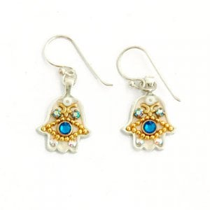 Blue Stone Hamsa Earrings by Ester Shahaf