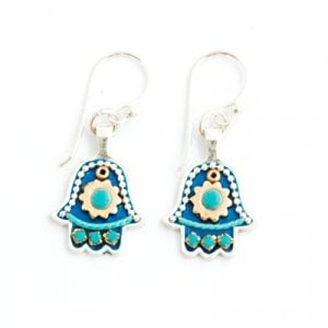 Blue Hamsa Earrings by Ester Shahaf