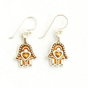 Hamsa Beadwork Earrings by Ester Shahaf