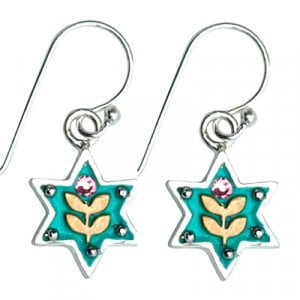 Flower Blue Star of David Earrings by Ester Shahaf