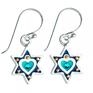 Blue Heart Star of David Earrings by Ester Shahaf