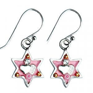 Pink Star of David Earrings with heart by Ester Shahaf