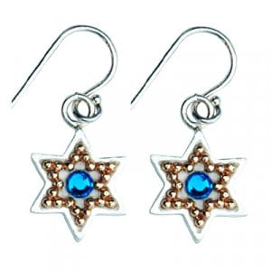 Golden Bead Star of David Earrings by Ester Shahaf