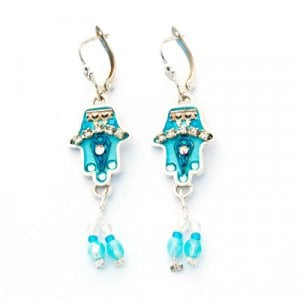 Blue Bead Hamsa Earrings by Ester Shahaf