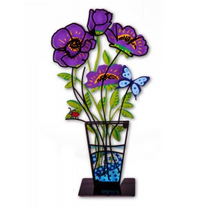 Tzuki Art Sculpture Hand Painted Anemones in Vase on Base - Purple