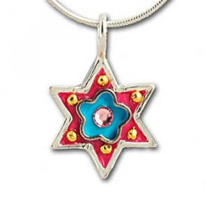 Small Star of David pendant with flower by Ester Shahaf
