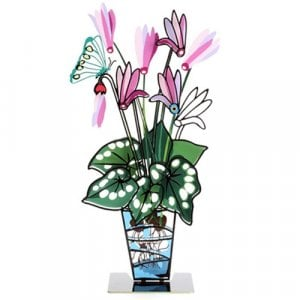 Tzuki Art Hand Painted Flower and Butterfly in Vase with Base - Pink Cyclamens