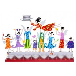 Tzuki Art Hand Painted Hanukkah Menorah with Joyful Family - Red