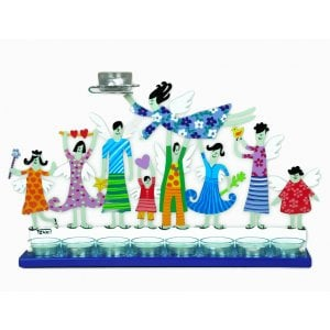 Tzuki Art Hand Painted Hanukkah Menorah with Joyful Family - Blue
