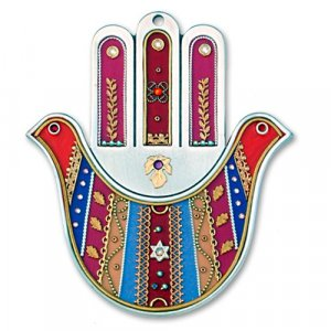 Red Wall Hamsa Hand by Esther Shahaf