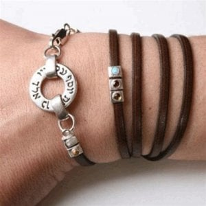 Kabbalah Leather Bracelet With Silver 72 Names by HaAri