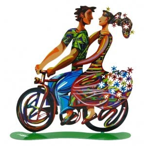 David Gerstein Free Standing Double Sided Bicycle Sculpture - Spring Ride
