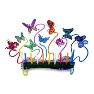 David Gerstein Laser Cut Metal Colorful Chanukah Menorah - Fluttering Butterflies