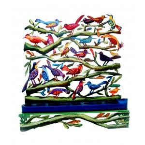 David Gerstein Laser Cut Metal Colorful Chanukah Menorah - Fluttering Birds