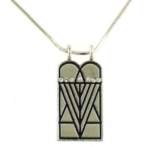 Rhodium Pendant Necklace, Ten Commandments with Seven Branch Menorah