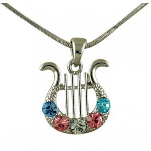 AJDesign Rhodium King David Lyre Pendant with colored stones