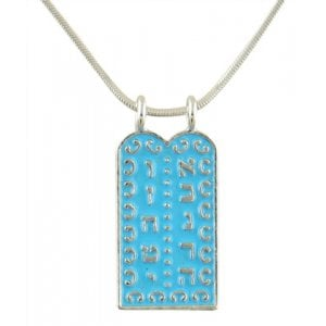 Rhodium Pendant Necklace with Ten Commandments Tablet - Blue