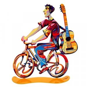 David Gerstein Free Standing Double Sided Bicycle Sculpture - Troubadour Rider
