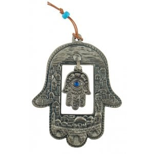 Hamsa Wall Decoration - Jerusalem Design with Inner Hamsa and Protective Eye