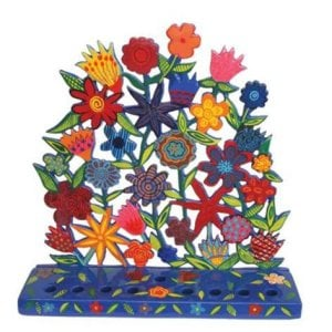 Yair Emanuel Laser Cut Hand-Painted Menorah Sculpture - Flowers