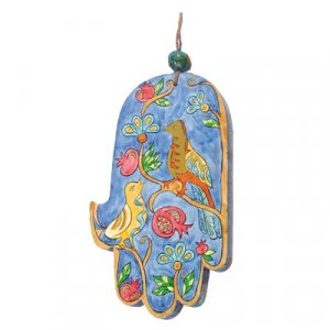 Yair Emanuel Hand Painted Wood Wall Hamsa - Blue Birds and Pomegranates