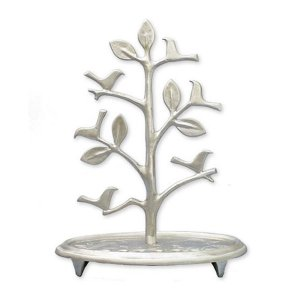 Shraga Landesman Circular Base Hanukkah Menorah, Tree with Birds - Aluminum