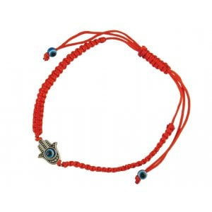 Stainless steel Filigree Hamsa on red ribbon bracelet