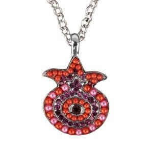 Yair Emanuel Pomegranate Pendant - Silver Plated Chain, Colored Stones