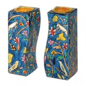 Yair Emanuel Hand-Painted Wood Fitted Candlesticks - Forest Scene