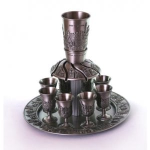 Pewter Plated Kiddush Wine Fountain with 8 Small Cups - Jerusalem Design