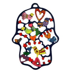 Yair Emanuel Colored Hand-painted Laser Cut Wall Hamsa - Birds & Hearts