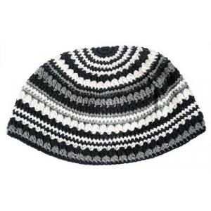 Frik Kippah Black, White, and Grey stripes
