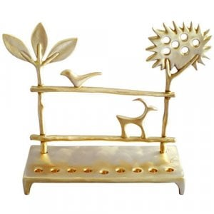 Shraga Landesman Cast Brass Hanukkah Menorah - Trees and Deer