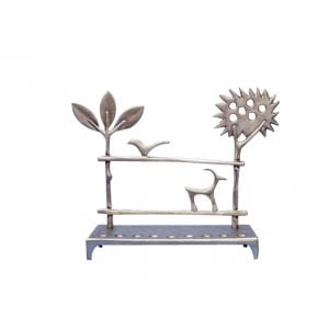 Shraga Landesman Aluminum Hanukkah Menorah - Trees and Deer
