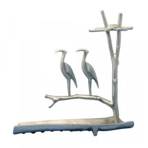 Shraga Landesman Hanukkah Menorah Herons on Tree with Waterway - Aluminum