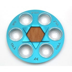 Shraga Landesman Sky-Blue Star of David Seder Plate - Aluminum, Wood and Glass