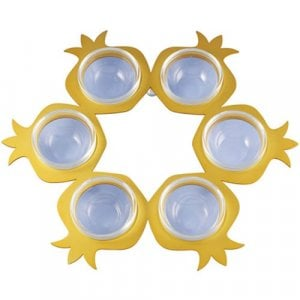 Shraga Landesman Seder Plate Gold Round Pomegranate Shapes - Aluminum and Glass