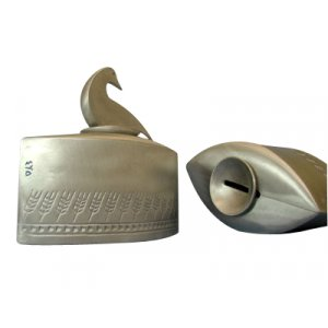 Shraga Landesman Cast Aluminum Charity Box Wheat Design - Duck Lid