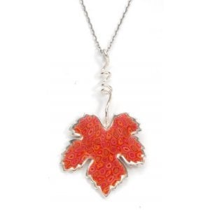 Coral Grape Leaf Necklace - SALE PRICE - 1 LEFT IN STOCK !