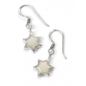 Pearl Color Star of David Earrings - SALE PRICE - 1 LEFT IN STOCK !!!