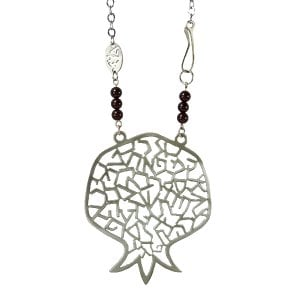 Shraga Landesman Hebrew Alphabet Pomegranate Necklace - Nickel Silver